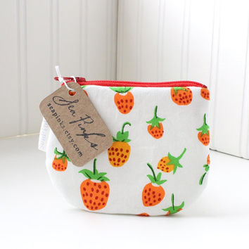 Red and White Summer Strawberry Coin Purse Small Zipper Pouch Change Purse