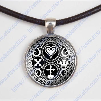 Kingdom Hearts Ultimania Trinity Emblem necklace, Kingdom Hearts Ultimania Trinity Emblem pendent ,glass, gift