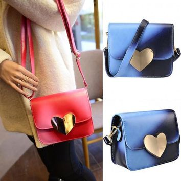 New Women Korean Candy Colors Synthetic Leather Peach Heart Small Satchel Shoulder Bag