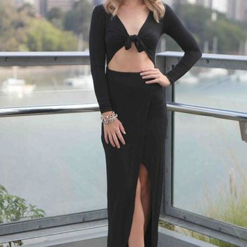 Chicloth Black Asymmetrical Draped Maxi Dress with Front Wrap Tie