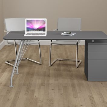 Grey Steel and Wood Home Office Rectangular Desk with Drawer Cabinet