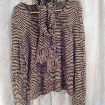 Medium/Large Vintage 70's Sweater with Matching Scarf Hippie 70's Clothing Brown Green and Orange 70's Style Clothes