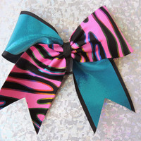 big multicolor zebra and turquoise cheer bow
