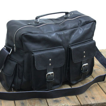 "Vintage Leather Flight Bag 16"" Black Messenger bag Shoulder Bag Briefcase travel bag mens bag womens unisex cabin bag weekenders handcrafted"