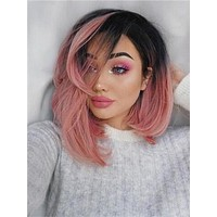 Twisted Dahlia Warm Pink Bob Synthetic Lace Front Wig