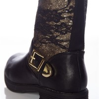 Lace Chaser Motorcycle Boots - Black from Qupid at Lucky 21
