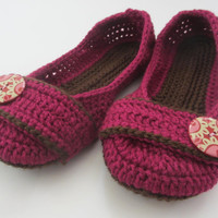 Women's Crochet Slippers - Button Tab Slippers - Women's sizes 5-11 - raspberry and chocolate - custom made - toddler