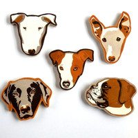 Lucie Ellen x James Brown Dog Brooches - Bull Terrier, Whippet, Jack Russell, Labrador, Boxer