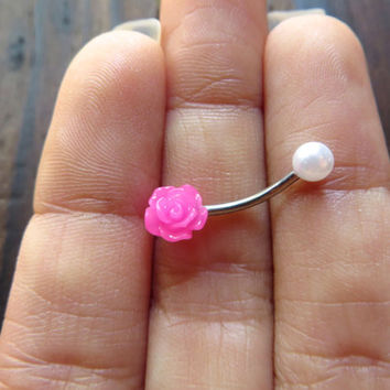 16 Gauge Tiny Pearl Rose Rook Eyebrow Piercing Ring Ear Earring Stud Jewelry Bar Barbell Neon Hot Pink