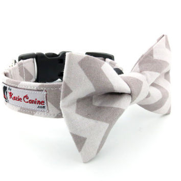 Gray Chevron Dog Collar (Tonal Grey Dog Collar Only - Matching Bow Tie Available Separately)