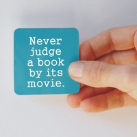 never judge a book square magnet by BookFiend on Etsy