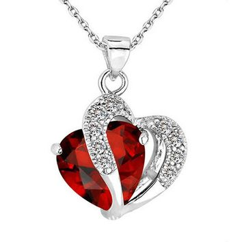 Heart-Shaped Zircon Crystal Pendant and Chain Necklace