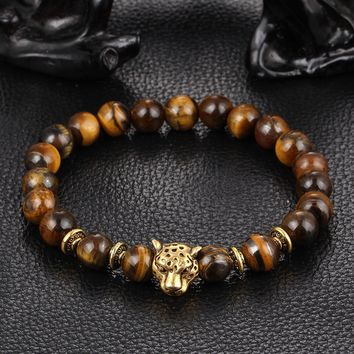 Unisex Stretch Fashion Tiger Eye Leopard Head Natural Agate Beads Bracelet Punk Bangle
