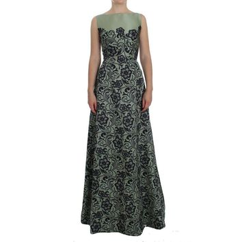 Dolce & Gabbana Green Floral Lace Silk Princess Maxi Dress