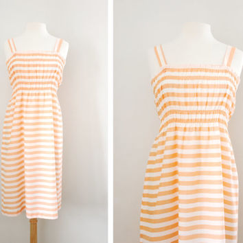 "Vintage 70s ""Candy Striper"" Sherbert Pink and White Stripes Summer Smock Dress Beach Dress Sun Dress Light Cotton Dress - Size S/M"
