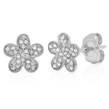 0.16ct 14k White Gold Diamond Flower Earring