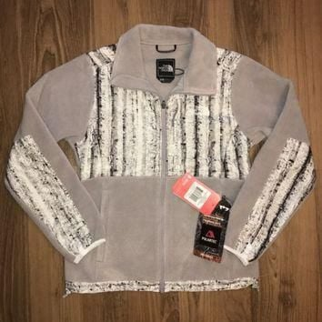 NEW $180 The North Face Women's Denali Jacket Fleece Gray / White Birch Print
