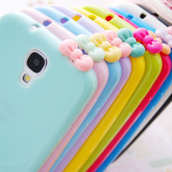 Samsung Galaxy S4 Jelly Pastel Silicone Cell Phone Case with Bowtie Dust Stopper