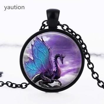 Blue Dragon black chain Necklace glass dome pendant necklace Jewelry Long Dragon Necklace Fantasy winged Dragon Jewelry