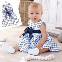 Baby Toddler Girl Kids Cotton Outfit Clothes Top Bow-knot Plaids Dress For 0-3 Year