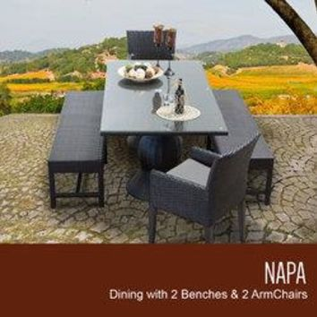 Napa Rectangular Outdoor Patio Dining Table with 2 Chairs w/ Arms and 2 Benches