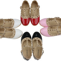 2016 New Children Shoes Girls Shoes Soft Sole Fashion Gladiator Kids Shoes Girls Sandals Studded PU Leather Shoes Girls Flats