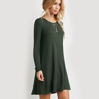 Womens Casual Long Sleeve Green Dress