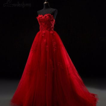 Real Sample Sweetheart A-line Red Prom Dresses Tulle Appliques Long Dress Sweetheart 2016 vestidos de baile