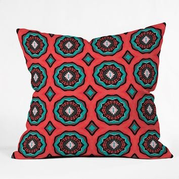Elisabeth Fredriksson Salty Raspberry Flowers Throw Pillow