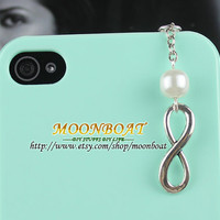 Dust Proof Plug-3.5mm Retro Infinity Wishing And Pearl Dust For iphone 4s,iPhone 4,iPhone 3gs,iPod Touch 4,HTC,Nokai,Samsung,Sony MB698
