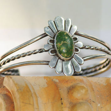 North American Dark Lime Green Turquoise Native American Bangle Bracelet - Hand wrought Sterling