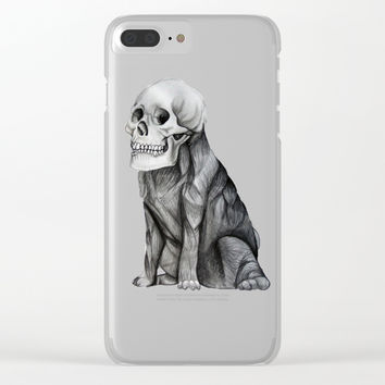 skullpug // A brutal pug wearing a human skull made in pencil Clear iPhone Case by Camila Quintana S