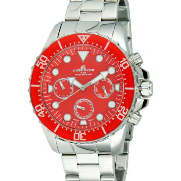 Adee Kaye AK2322-RD Men's Watch Red Dial Mulifunction Silver-Tone Stainless Steel