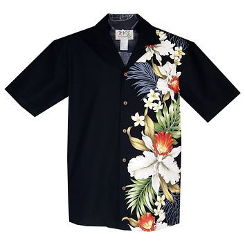 Orchid Plumeria Black Vertical Border Hawaiian Shirt