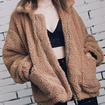 DCCKHQ6 Khaki Lapel Long Sleeve Faux Shearling Coat