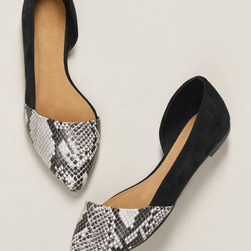 Side Cut Out Pointy Toe Snakeskin Ballerina Flats
