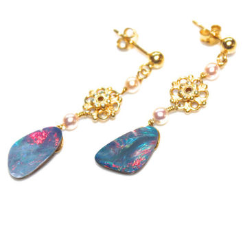 Australian Black Opal Doublet Earrings Gold Vermeil Freshwater Pearl Handcrafted Gemstone Jewelry