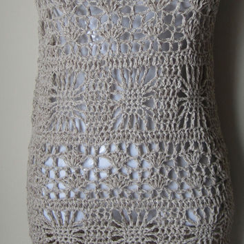 Beige Crochet Dress, sleeveless, sheath dress, Bamboo, Summer dress,