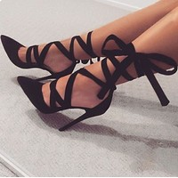 Straps Ankle Wraps Pointed Toe Stiletto High Heels