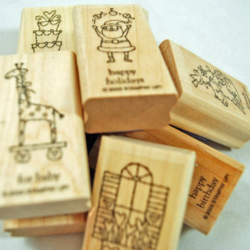 """Stampin Up Rubber Stamps """"Little Hellos"""" 2003 Retired Rubber Stamps Nearly New Retired HTF Scrapbooking Cardmaking Collage Crafts"""