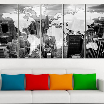 Black and White WORLD MAP on Manhattan City Canvas Print - White and Black World Map Manhattan Canvas Printing Large Size Wall Art