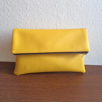 Yellow clutch bag, foldover clutch purse