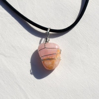 pink wrapped stone pendant choker necklace loose choker wrapped stone caged stone pendant wire wrapped stone pendant chakra choker necklace