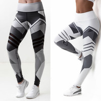 Summer Women's Print Leggings Sporting Black White Fitness Casual Pants Skinny Leggings Workout Bodybuilding Ladies Leggings