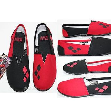Licensed cool NEW DC  BATMAN HARLEY QUINN CANVAS SLIP ON FLAT SHOES SLIPPERS LADIES S-M
