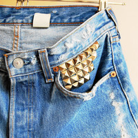 distressed blue high waisted vintage silver studded levi cut offs
