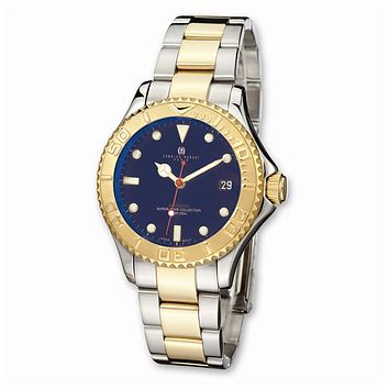Mens Charles Hubert Ip-plated Two-tone Blue Dial Watch