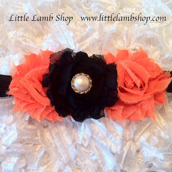 Orange Black Baby Headband, Halloween, Baby Hair Band, Newborn Girl Infant Headband, Fall Thanksgiving Headband, Canada