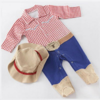 Cowboy or Cowgirl Baby Romper with Hat