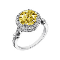 White gold 14K 3 carats yellow canary round diamond anniversary ring jewelry